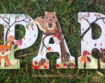 fox letters,forest animal letters,wooden letters,fox decor,fox bedding,fox nursery,fox nursery letters,neutral nursery letters,boys letters