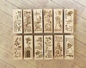 "Discontinued -Beautiful Japanese Wooden Rubber Stamp from Chamil Garden / Little Path - ""Bloom"" Series complete Set (set of 12)"