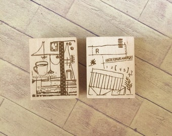 """Japanese Wooden Rubber Stamp from Chamil Garden / Little Path - """"First"""" Series for invitation, card making, scrapbooking"""