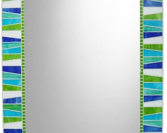 Stained Glass Mosaic Wall Mirror - White, Lime Green, Royal Blue, Aqua Blue