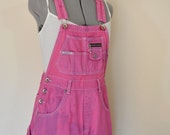 Fuchsia Pink Small Bib OVERALL Shorts - Pink Dyed Upcycled Distressed ReVolt Denim Shorts - Adult Womens Juniors Small (32 waist)