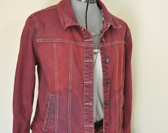 """Red Petite Large Denim JACKET - Scarlet Red Dyed Upcycled Live a Little Cotton Trucker Jacket - Adult Womens Petite Large (42"""" chest)"""
