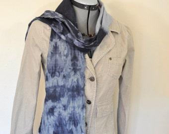 "Indigo Dyed Linen SCARF - Navy Blue Dyed Shibori Tie Dye Hand Made Shibori Natural Linen Tan Skinny Scarf  #153 - 6 x 62"""
