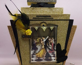 Perfume Bottle Mini Album, Art Deco Perfume Bottle Scrapbook, Glitter Perfume Bottle with Mini Album