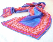 Vera Neumann Scarf, Oblong Magic Carpet Design, Red Fringe Print on Blue and Purple, Arabian Nights Reference