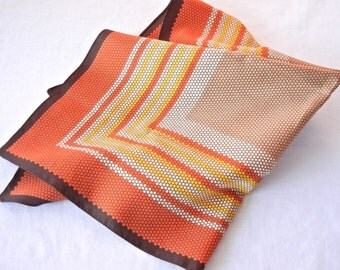 Harvest Honeycomb Scarf, Orange Yellow Brown Tan Concentric Squares, Square Shape, 70s or Earlier