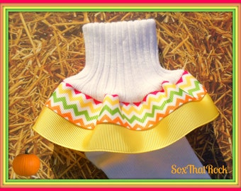 Autumn Gold girls Ruffle Socks in fall chevron. You pick The Solid Ribbon Color and sock type. The perfect compliment to all fall outfits.