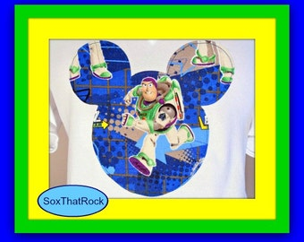 Girl's Toy Story Buzz Lightyear Disney inspired custom t-shirt- you pick shirt coor and size - matching socks avaiable