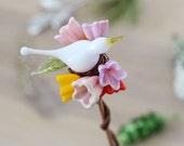 Glass bird plant stake, garden art, potted plant art glass flowers, yard art - Spring dove bouquet