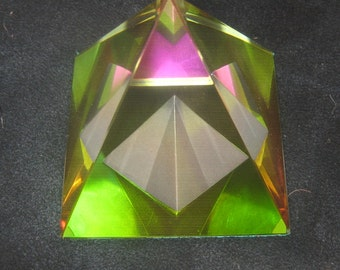 60MM PYRAMID Within PYRAMID Leaded Glass Crystal Prism Paperweight