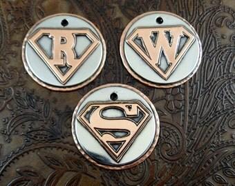 Custom Superman Letter Dog ID Tag-Pet ID Tag-Personalized Dog ID Tag-Superman Letter Keychain Fob Luggage Tag