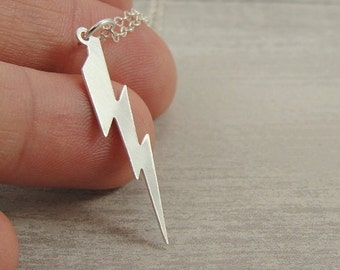 Lightning Bolt Necklace, Sterling Silver Lightning Bolt Charm on a Silver Cable Chain