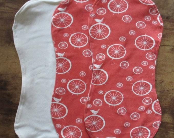 Coral Birdies Organic Burp Cloth