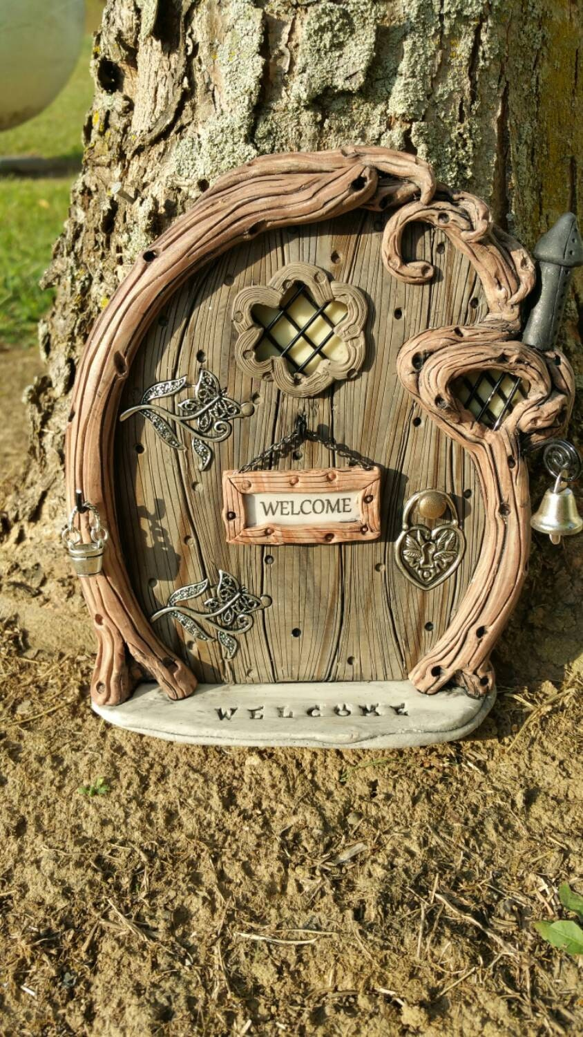 Fairy door personalized 977 gnome hobbit elves for Outdoor fairy door