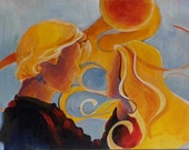 Original small painting, 1970s inspired couple, blue, yellow and orange