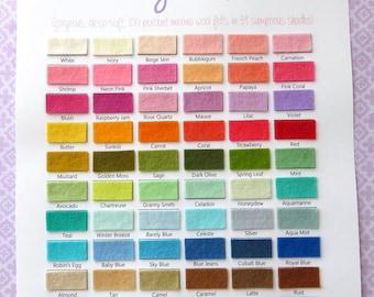 PURE Merino Wool Felt Colour Swatch Card