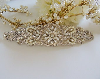 Pearls Bridal Sash, Beaded Sash, Wedding Dress Sash, Crystal Belt, Embellishment, Applique