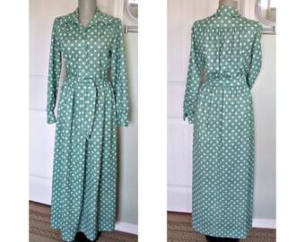 Vintage 70s green and white  polka dot maxi dress - ties at the waist