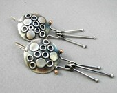 Sterling stick earrings: Sterling silver and gold fill, texturized domed disc with dangling sticks luna earrings