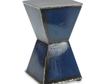 Blue Hourglass Side Table Cocktail Table Modern