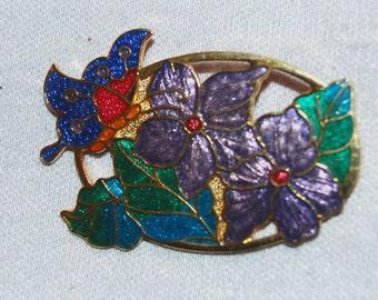 Vintage / Butterfly / Flowers / Brooch / Cloisonne / Enamel / old / jewelry / jewellery