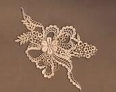 Hand Dyed Floral Venise Lace Applique Floral Ribbon Bow Aged Blush Latte