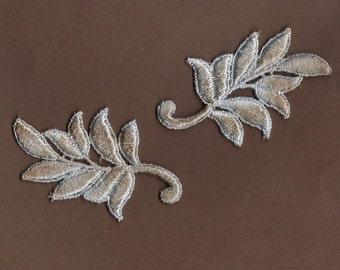 Hand Dyed Venise Lace Appliques Leaf Accents Set of 2 Vintage Aged Blue