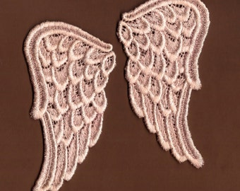Hand Dyed Venise Lace Sweet Angel Wings  Aged Blush Pink  LARGE