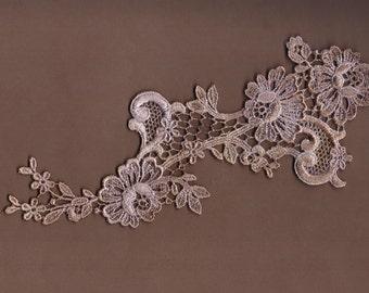 Hand Dyed Floral Venise Lace Applique  Vintage Violet Haze