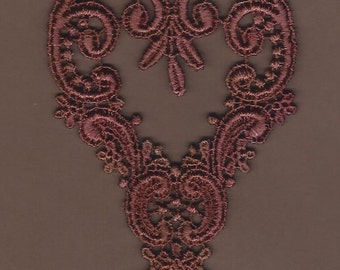 Hand Dyed Venise Lace Applique Victorian Heart  Aged Rose's n Rust