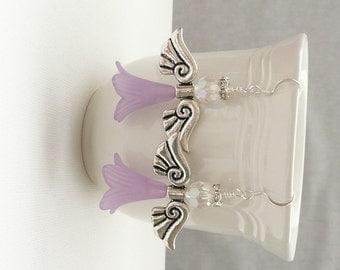 ndba-Large White and Lavender Flower Bead Angel Dangle Earrings