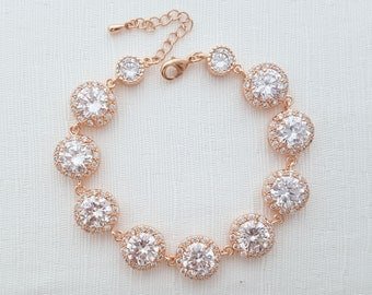 Rose Gold Wedding Bracelet Crystal Bridal Bracelet Wedding Jewelry Rose Gold Cubic Zirconia Bracelet, Ena