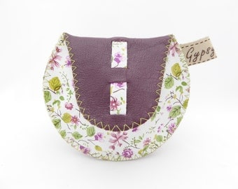 Leather Coin Purse / The Mini Gypsy Change Purse / Genuine Leather Coin Purse in Two Tones / Flower Print and Purple Plum Leathers