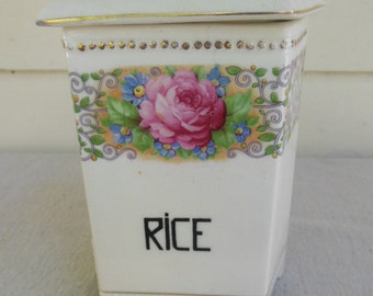 Vintage Rice Canister Pink Rose Porcelain by Luise, CZECHOSLOVAKIA
