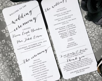 Printed Wedding Program  | Ceremony program  | Double Sided Programs -  BOMBSHELL COLLECTION - Style P54