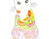 Green Eyed Kitty Peachy Spring Garden Kitty 8 x 10 Floral Art Print - Wall Art - Home Decor