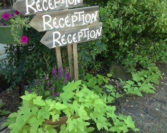 Set of 3 Rustic Wood Wedding Directional Stake Signs Reception Ceremony Cocktails Western Country Bridal With Arrow