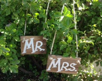 Mr and Mrs Wedding Sign Bridal Rustic Country Barn Wood Bride Groom Photo Prop Hanging Ready to Ship