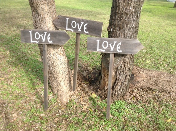 Love Is In The Air Wood Wedding Directional Sign Set of Three On Stake Rustic Western Bridal