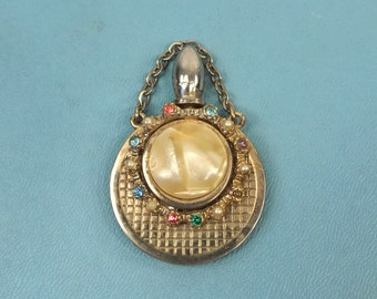 vintage 60s mini bottle pendant charm fob gold tone metal gems pearl snuff perfume miniature pet ashes urn jewelry vial flask open fill oils