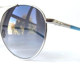 vintage 90s turquoise aviator sunglasses silver metal frames blue grey gray gradient sun glasses women men double bridge fresh classic nos