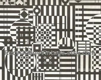 vintage 1970's optic illusion pattern art print book plate black & white pop art design retro home decor mod geometric picture wall 55 56
