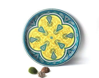 vintage 60's large round metal tray teal green yellow hearts dots serving entertaining decorative home retro modern folk old vanity dresser