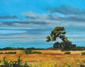Large Oil Painting on canvas - Bluffs in Blue and Gold 18x24 - Large Landscape Painting by Sharon Schock