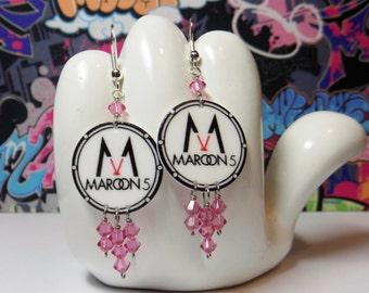Maroon 5 V Drum Head Dangle Earrings