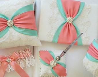 Coral and Mint Wedding Guest Book and Pen Stand ONLY
