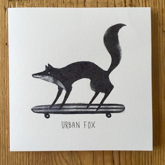Urban Fox - Greetings Card