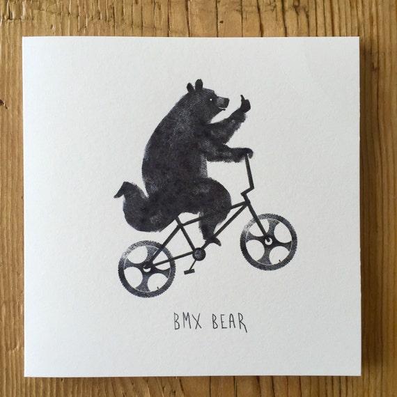 BMX Bear - Greetings Card