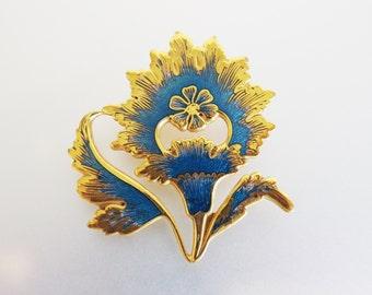 Lovely Vintage Signed Metropolitan Museum of Art Indian Moghul Floral Enamel Brooch