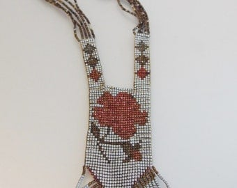 Gorgeous Vintage Art Deco 1920's Metalic Bead Flapper Necklace